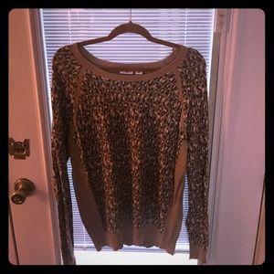 NWOT Cato Leopard Print Camel Cuffed Sweater XL